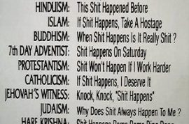 A quick (humorous) guide on  understanding all the religions of the world….