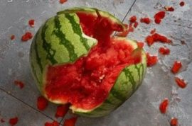 Investigators baffled by exploding watermelon and naked man walking along street.