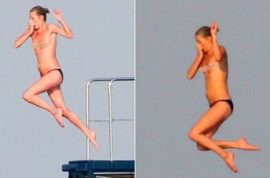 If you watch carefully you will notice Kate Moss is jumping off this French yacht topless. Wow!