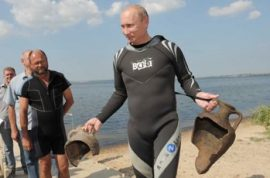 Vladmir Putin 'luckily' discovers two sixth century Grecian urns