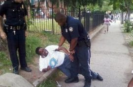 Police throw disabled woman to the ground and then arrest her after she refused to move off the sidewalk