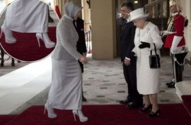 Hmm, the Queen is not amused. Turkey' first lady Hayrunnisa Gul shocks with her 6 inch boysenberry high heels.