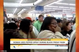 Female shopper pepper sprays 20 people whilst guarding an X Box. Pandemonium ensues…