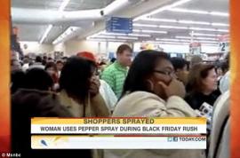 Female shopper pepper sprays 20 people whilst guarding an X Box. Pandemonium ensues…