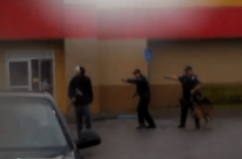 Cops shoot man dead at point blank because he wouldn't put down his crowbar.