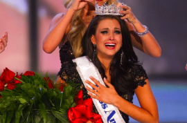 Laura Kaeppeler crowned Ms America after strutting in white bikini and singing opera.