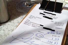 Douchebag banker leaves waiter a $1.33 tip on a $133 bill.