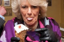 Prince Charles and his hawt bixch Camilla are not afraid to enjoy finger licking ice cream.