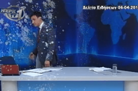 Video: Greek newscaster pelted with yoghurt and eggs during live interview.