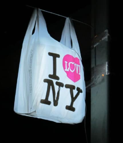 """I ♥ NY"" logo on a plastic bag"