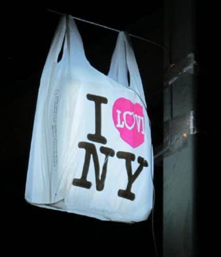 """""""I ♥ NY"""" logo on a plastic bag"""