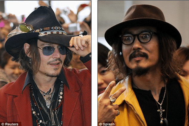 Johnny Depp and his Japanese look alike Ken Shimizu.