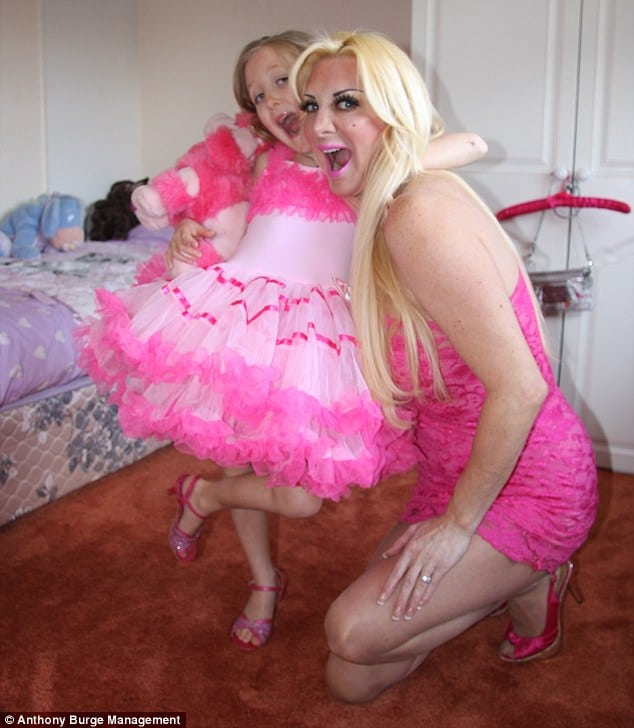 The Human barbie with her daughter