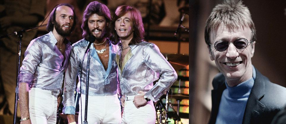 Bee Gees in the 1970's and Robin Gibb to the right recently