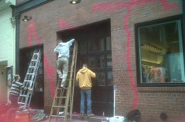 Marc Jacobs store in Soho covered in Pink Graffiti