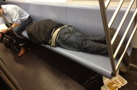 Homeless on the NYC Subway. Is this what you call manners?