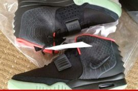 Kanye West custom designed Nike Air Yeezy 2 sneakers now bid at $90 300.