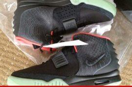 Kanye West custom designed Nike Air Yeezy 2 sneakers now bid at $90 300.