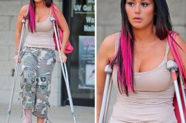 Jersey Shore's Jwoww ends up in a bar brawl that leaves her in crutches.