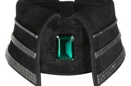 The $37 500 Karl Lagerfeld black diamond collar has finally arrived.