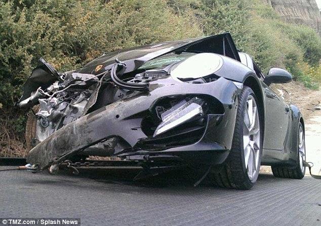 Lindsay Lohan smashed Porsche
