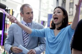 Ann Curry turns up to Today show, acting as if she hasn't been fired.