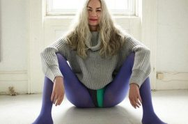 American Apparel's new model Jacky has endless legs, killer cheekbones and grey hair…