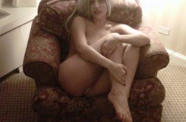 Oh my! Lady Gaga tweets naked picture of self reclining on chair.