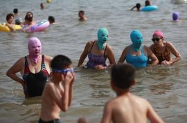 The nylon face mask will help you avoid a sunburn.