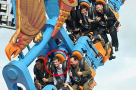 So who's the mystery grinning person riding a rollercoaster with North Korea's dictator Kim Jong un?