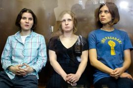 Pussy Riot get a two year felony hooliganism jail sentence. Russian women are just trash anyway….