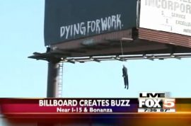Dying for work. Las Vegas drivers distracted by interesting billboard.