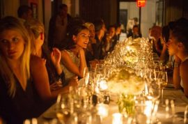 Designer Rachel Roy honored at Feast of Fashion Bon Appetit dinner party at the Nomad Hotel.