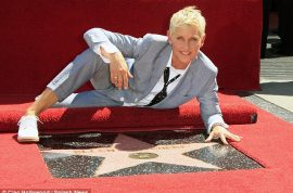 Ellen DeGeneres knows how to pose correctly as she is made a star on the Walk of Fame.