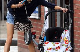 Peaches Geldorf spills her baby but at least manages to hold on to the phone and carry on conversation.