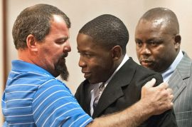 Father of car crash victim hugs driver who killed his 17 year old son.