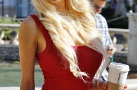 Courtney Stodden insists you have a look at her new platform heels and red mini dress too.
