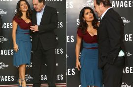 Oops! Oliver Stone gets rebuffed when he makes a beeline for Salma Hayek's breasts….