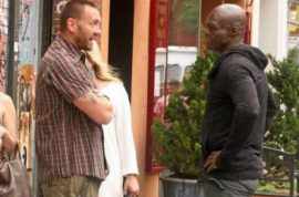 Heidi Klum bodyguard and Seal have dramatic stare down.