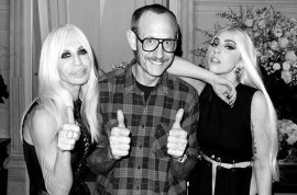 Here's Lady Gaga topless with Donatella Versace and Terry Richardson.