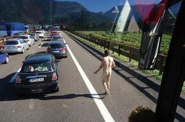 Naked hitchhiker in Austria tries to hitch a ride…