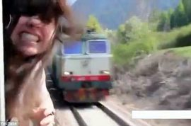 Video: Girl almost beheaded by train.