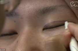 South Korean girls flock to have double eye lid surgery to look like Western celebrities.