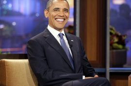 Donald Trump's announcement is lampooned by Barack Obama on Jay Leno's 'Tonight show.'