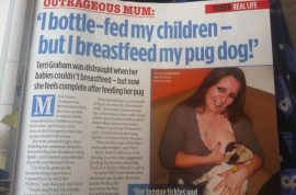 Mother who bottle fed her children now breastfeeds her pug dog.