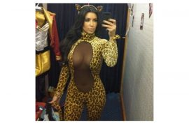 Kim Kardashian tweets wondering out aloud whether you like her Halloween leopard dress?