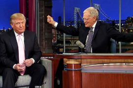 Donald Trump goes on David Letterman and announces he will shell out more money for Barack Obama's transcripts.
