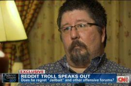 Violentacrez of Reddit goes on CNN to defend why he acted like a troll.
