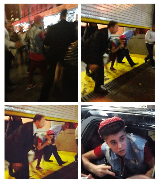 Justin Bieber making an impromptu entrance at a NYC hotel to see Selena Gomez