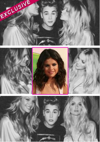 Justin Bieber and Victoria's Secret models.
